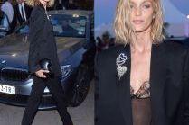 Anja Rubik w czarnym garniturze w Cannes