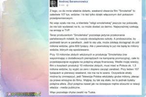 """Saramonowicz o wynikach """"Smoleńska"""": """"Szału nie ma"""""""