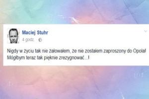 """Maciej Stuhr: """"Żałuję, że nie zostałem zaproszony do Opola!"""""""