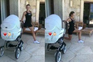 Anna Lewandowska ćwiczy przy wózku