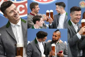 Szczęśliwy Lewandowski i jego koledzy z Bayernu pozują z... piwami (ZDJĘCIA)