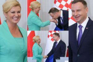 Szerokie uśmiechy, uprzejmości i całowanie w rękę: tak wyglądało spotkanie Andrzeja Dudy z prezydent Chorwacji (ZDJĘCIA)