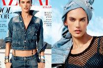 Alessandra Ambrosio pozuje w turbanie z dżinsów