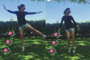Anna Lewandowska tańczy na trawniku
