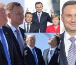 Szczęśliwy Andrzej Duda pozuje do zdjęć z Trumpem, Merkel i Macronem...