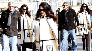 """""""Zakochany po raz pierwszy w życiu"""" Clooney i ciężarna Amal w Paryżu (ZDJĘCIA)"""